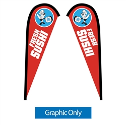 Outdoor promotional flags get your message noticed!  Custom printed 7.5ft Sunbrid double-sided Teardrop outdoor flags are perfect for retail stores, car dealerships, fairs, expos, trade shows and more to grab customer attention.