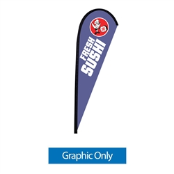 Outdoor promotional flags get your message noticed!  Custom printed 9ft Sunbrid single-sided Teardrop outdoor flags are perfect for retail stores, car dealerships, fairs, expos, trade shows and more to grab customer attention.