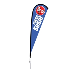 Outdoor promotional flag stands get your message noticed!  Custom printed 12ft Sunbrid single-sided Teardrop outdoor flags are perfect for retail stores, car dealerships, fairs, expos, trade shows and more to grab customer attention.