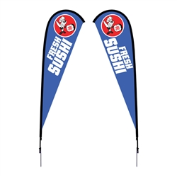 Outdoor promotional flag stands get your message noticed!  Custom printed 12ft Sunbrid double-sided Teardrop outdoor flags are perfect for retail stores, car dealerships, fairs, expos, trade shows and more to grab customer attention.
