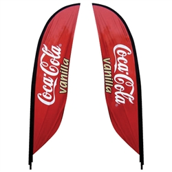 Outdoor promotional flags get your message noticed!  Custom printed 9.84ft  double-sided Feather outdoor flags are perfect for retail stores, car dealerships, fairs, expos, trade shows and more to grab customer attention.