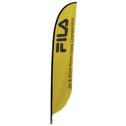 Outdoor promotional flags get your message noticed!  Custom printed 15.75ft  single-sided Feather outdoor flags are perfect for retail stores, car dealerships, fairs, expos, trade shows and more to grab customer attention.