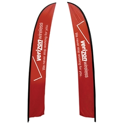 Outdoor promotional flags get your message noticed!  Custom printed 19.7ft  double-sided Feather outdoor flags are perfect for retail stores, car dealerships, fairs, expos, trade shows and more to grab customer attention.