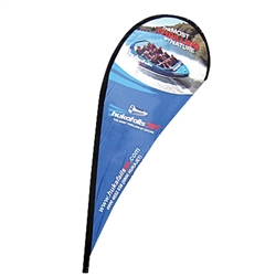 Outdoor promotional flags get your message noticed!  Custom printed 11ft  single-sided Teardrop outdoor flags are perfect for retail stores, car dealerships, fairs, expos, trade shows and more to grab customer attention.