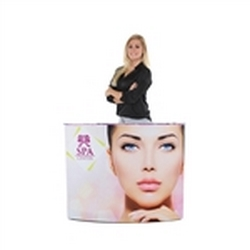 4ft EZ Fabric Counter Curved Single Graphic Package, developed to combine convenience and show. Having a reception counter or podium is key in drawing the visitors attention to your display or exhibit at any trade show or event.