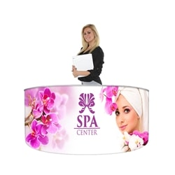 EZ Fabric Counter Curved CINGO Graphic Package, developed to combine convenience and show. Having a reception counter or podium is key in drawing the visitors attention to your display or exhibit at any trade show or event.