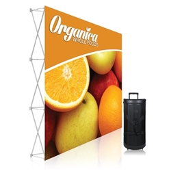 8ft Straight Ready Pop Single Sided Fabric Pop Up Frame & Graphic No Endcaps. Ready Pop is the FASTEST booth to setup, clocked in at just 2-minutes.8ft Curved Ready Pop Tension Fabric Trade Show display popular curved backwall floor display.