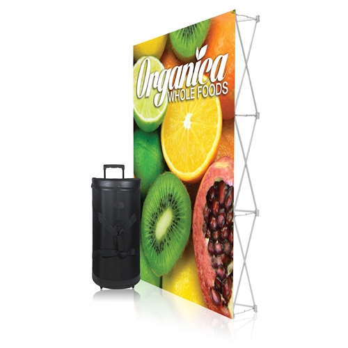 5ft x 7.5ft Ready Pop PopUp Straight Single-Sided Graphic Package No Endcaps Display. Stretch fabric pop up displays for tradeshow booth exhibits.Ready Pop trade show fabric pop-up backwall exhibit booth for your next trade show or event.