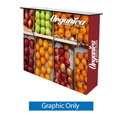 Ready Pop Counter Display Graphic Only. This Ready Pop Stretch Fabric Display is made from an ultra lightweight aluminum. Fabric counter will compliment your Ready Pop Fabric Trade Show Backwall Display. Podium  works as a marketing display at trade shows