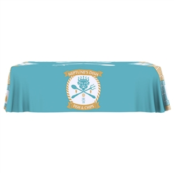 8ft Table Throw Custom Full Color Print One Choice - Stylish and elegant, table throws professionally present your company image at events and trade shows. These premium quality polyester twill table throws are easy to care for and can be easily washed.