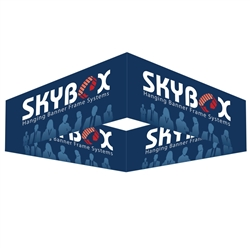 Skybox Square 12ft x 24in Hanging Tension Fabric Banner (Double Sided) is a must have at your next trade show. This ceiling banner is printed on quality fabric. Available shapes hanging sign are round, square, curved square, tapered square and triangle