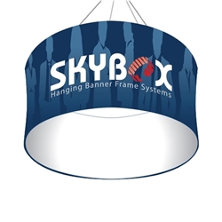 Skybox Circle 8 ft x 24 in Hanging Tension Fabric Banner (Single Sided) is a must have at your next trade show. Circle hanging banners on top booth or exhibit enable you to been seen from practically anywhere on trade show or convention
