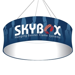 Skybox Circle 12ft x 32in Hanging Tension Fabric Banner (Single Sided) is a must have at your next trade show. Circle hanging banners on top booth or exhibit enable you to been seen from practically anywhere on trade show or convention