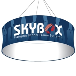Skybox Circle 12ft x 24in Hanging Tension Fabric Banner (Single Sided) is a must have at your next trade show. Circle hanging banners on top booth or exhibit enable you to been seen from practically anywhere on trade show or convention