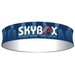 Skybox Circle 20ft x 24in Hanging Tension Fabric Banner (Single Sided) is a must have at your next trade show. Circle hanging banners on top booth or exhibit enable you to been seen from practically anywhere on trade show or convention
