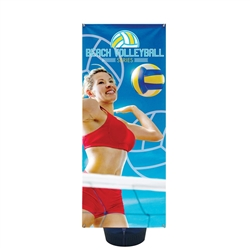 2ft x 5in Zephyr Outdoor Banner Stand Single-Sided Graphic Package has adjustable width and height to hold wide range of banners with corner grommets. Zephyr Outdoor Banner Stand can support a few sizes of graphics, allowing you displaying your message