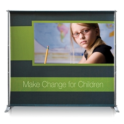 "4ft x 4ft Jumbo Banner Silver Large Tube Fabric Graphic Package. This particular selection has smaller tubes that measure 1 1/8"""" in diameter and connect together on all four sides. The fabric graphic slides onto the top and bottom cross bars."