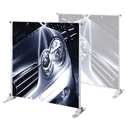 "4ft x 7ft Jumbo Banner Silver Large Tube Fabric Graphic Package. This particular selection has smaller tubes that measure 1 1/8"""" in diameter and connect together on all four sides. The fabric graphic slides onto the top and bottom cross bars."