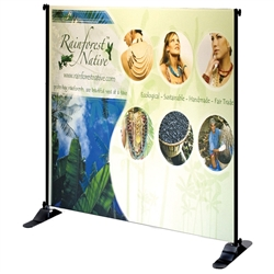 "4ft x 8ft Jumbo Banner Stand Small Tube Graphic Package. This particular selection has smaller tubes that measure 1 1/8"""" in diameter and connect together on all four sides. The fabric graphic slides onto the top and bottom cross bars, and displays tautly"