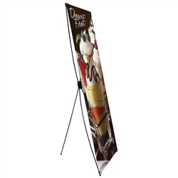 31.5 in x 79in Econom-X Banner Stand Large Scrim Graphic Package (Stand & Graphic). The Econom-X banner stand offers a great looking display at an economical price. A soft travel bag is also included in the super low price.