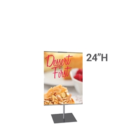 24in x 24in Classic Banner Stand Medium Silver With Square Base Single-Sided Graphic Package. We offers a full line of trade show displays, pop up booths, banner stands, table top displays, banner stands, hanging banners, signs, molded shipping cases.
