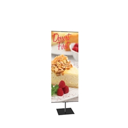 24in x 48in Classic Banner Stand Medium Silver With Square Base Single-Sided Graphic Package. We offers a full line of trade show displays, pop up booths, banner stands, table top displays, banner stands, hanging banners, signs, molded shipping cases.