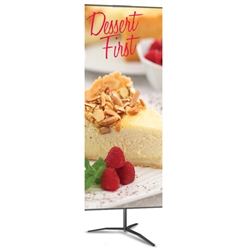 24in x 48in Classic Banner Stand Medium Silver With Travel Base Single-Sided Graphic Package. We offers a full line of trade show displays, pop up booths, banner stands, table top displays, banner stands, hanging banners, signs, molded shipping cases.