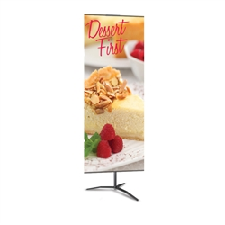 24in x 48in Classic Banner Stand Medium Silver With Travel Base Double-Sided Graphic Package. We offers a full line of trade show displays, pop up booths, banner stands, table top displays, banner stands, hanging banners, signs, molded shipping cases.