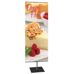 24in x 60in Classic Banner Stand Medium Silver With Square Base Single-Sided Graphic Package. We offers a full line of trade show displays, pop up booths, banner stands, table top displays, banner stands, hanging banners, signs, molded shipping cases.