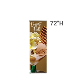 24in x 72in L Banner Stand SUPER FLAT Graphic Package (Stand & Graphic). For maximum classic simplicity, the L banner stand is the preferred choice. This affordable, lightweight aluminum frame sets up easily in seconds for ultimate convenience.