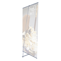 36in x 83.5in L Banner Stand SUPER FLAT Graphic Package (Stand & Graphic). For maximum classic simplicity, the L banner stand is the preferred choice. This affordable, lightweight aluminum frame sets up easily in seconds for ultimate convenience.