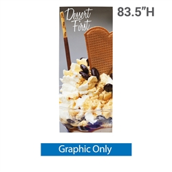 36in x 83.5in L Banner Stand SUPER FLAT Print (Graphic Only). For maximum classic simplicity, the L banner stand is the preferred choice. This affordable, lightweight aluminum frame sets up easily in seconds for ultimate convenience.
