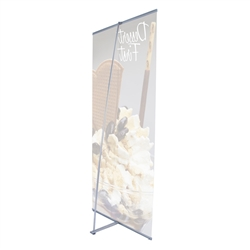 36in x 83.5in L Banner Stand Fabric Graphic Package (Stand & Graphic). For maximum classic simplicity, the L banner stand is the preferred choice. This affordable, lightweight aluminum frame sets up easily in seconds for ultimate convenience.