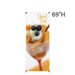 27.5 In. X 69 In. Zen Bamboo Banner Stand Display Graphic Package. With quick and easy set up, the bamboo poles put tension on the banner providing a tight, straight, and professional appearance.