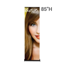 24in x 85in Black SilverStep Retractable Banner Stand Vinyl Graphic Package. Huge assortment of retractable banner stands for every need. This roll up banner is a quick and easy means of adding color to your trade show booth, show room, events.