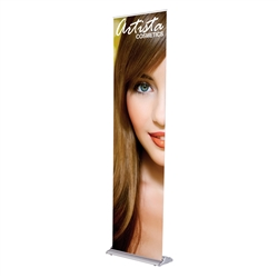 24in x 92in Black SilverStep Vinyl Graphic Package. Huge assortment of retractable banner stands for every need. This roll up banner is a quick and easy means of adding color to your trade show booth, show room, events.