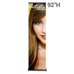 24in x 92in Black SilverStep Fabric Graphic Package. Huge assortment of retractable banner stands for every need. This roll up banner is a quick and easy means of adding color to your trade show booth, show room, events.