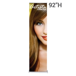 24in x 92in Silver SilverStep Fabric Graphic Package. Huge assortment of retractable banner stands for every need. This roll up banner is a quick and easy means of adding color to your trade show booth, show room, events.