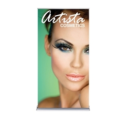 36in x 72in Silver SilverStep Retractable Banner Stand Vinyl Banner Package. Huge assortment of retractable bannerstands. Silverstep retractable telescoping trade show banner stand display is a marketing solution for your next promotion or trade show even