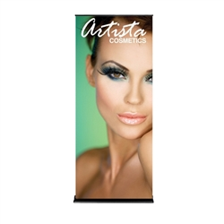 36in x 84in Black SilverStep Retractable Banner Stand Vinyl Banner Package. Huge assortment of retractable bannerstands. Silverstep retractable telescoping trade show banner stand display is a marketing solution for your next promotion or trade show event