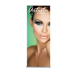 36in x 92in Silver SilverStep Retractable Banner Stand Vinyl Banner Package. Huge assortment of retractable bannerstands. Silverstep retractable telescoping trade show banner stand display is a marketing solution for your next promotion or trade show even