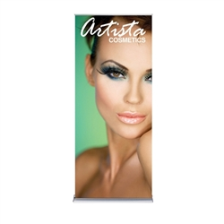 36in x 84in Silver SilverStep Retractable Banner Stand Vinyl Banner Package. Huge assortment of retractable bannerstands. Silverstep retractable telescoping trade show banner stand display is a marketing solution for your next promotion or trade show even