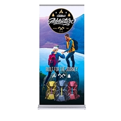 36in x 80in Silver SilverStep Retractable Banner Stand Vinyl Banner Package - One Choice. Huge assortment of retractable bannerstands. Silverstep retractable telescoping trade show banner stand display is a marketing solution.