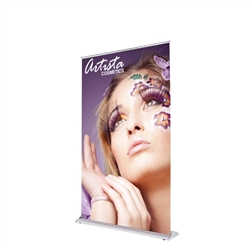 48in x 80in SilverStep Retractable Banner Stand Vinyl Graphic Package. SilverStep Retractable BannerStands are our top of the line retractable trade show banner stand displays. Roll up displays have a giant graphic to grab the attention at trade show