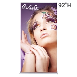 48in x 92in SilverStep Retractable Banner Stand Vinyl Graphic Package. SilverStep Retractable BannerStands are our top of the line retractable trade show banner stand displays. Roll up displays have a giant graphic to grab the attention at trade show