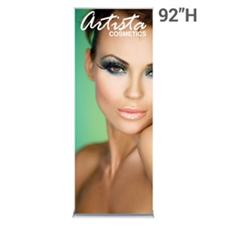 60in x 92in SilverStep Retractable Banner Stand Fabric Graphic Package Trade Show and Event Display is Backwall at tradeshow events. The SilverStep Retractable Banner Stand Display has a unique look at an affordable price.