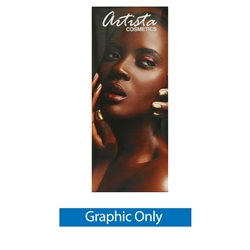 Graphic for 33.5 in. Mozzie Roll Up - 80inh Super Flat Vinyl Retractable Banner Stand. This  Retractable Banner Stand Display has a unique look at an affordable price.