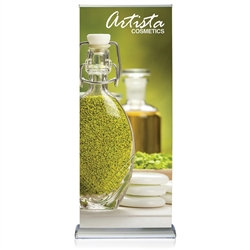 36in x 69in Double Step Retractable Banner Stand Graphic Package is a great way to market your company and showcase your products. This double sided retractable banner stand comes in 36in widths and displays two banners back to back.