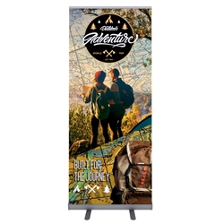 33.5in x 80in Econoroll Retractable Banner Stand - One Choice is a great way to market your company and showcase your products. This double sided retractable banner stand comes in 33.5in widths and displays two banners back to back.