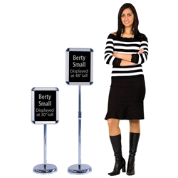 The Berty Snap Frame Display allows a small sign to be displayed almost anywhere. No need to post on a wall just set up the freestanding display where needed, open the snap frame and place your sign. It securely holds an 8.5in x 11in sign and telescopes